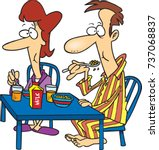 cartoon man and woman eating... | Shutterstock .eps vector #737068837