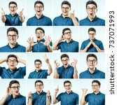 set of young man's portraits... | Shutterstock . vector #737071993