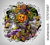 cartoon vector doodles happy... | Shutterstock .eps vector #737073487