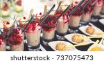 beautifully decorated catering... | Shutterstock . vector #737075473