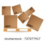 cardboard boxes with cargo... | Shutterstock .eps vector #737077927