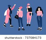 Fashionable Young Women In...
