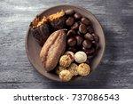 high angle shot of an... | Shutterstock . vector #737086543