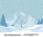 winter landscape on snowy... | Shutterstock .eps vector #737089777