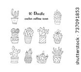 set of 10 handdrawn doodle... | Shutterstock .eps vector #737091853