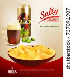 salty snacks composition with... | Shutterstock .eps vector #737091907