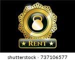 golden emblem or badge with... | Shutterstock .eps vector #737106577
