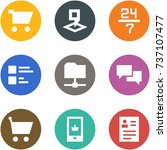 icon set   cart  map pin  24 7  ... | Shutterstock .eps vector #737107477
