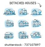 set of different houses ... | Shutterstock .eps vector #737107897