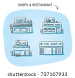 set of different shop and... | Shutterstock .eps vector #737107933