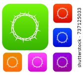 crown of thorns set icon color... | Shutterstock .eps vector #737125033