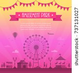 amusement park   modern vector... | Shutterstock .eps vector #737131027
