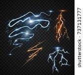 lightning bolt storm strike...   Shutterstock .eps vector #737131777