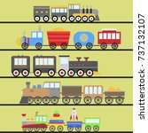 kids train toy vector set gift... | Shutterstock .eps vector #737132107