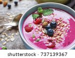 bowl with acai smoothie and... | Shutterstock . vector #737139367