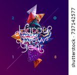 new year 2018. poster design. | Shutterstock .eps vector #737142577