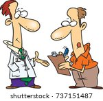 cartoon man filling out forms...   Shutterstock .eps vector #737151487
