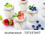 fresh yogurt with berries in... | Shutterstock . vector #737157697