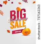 big thanksgiving sale poster.... | Shutterstock .eps vector #737162263
