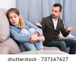 young father quarrelling with... | Shutterstock . vector #737167627