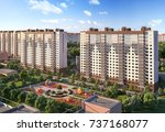 3d illustration residential... | Shutterstock . vector #737168077