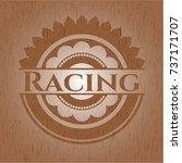 racing badge with wood... | Shutterstock .eps vector #737171707
