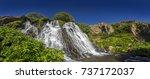 panorama of the shaki waterfall ...   Shutterstock . vector #737172037