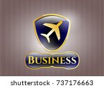 golden badge with plane icon... | Shutterstock .eps vector #737176663
