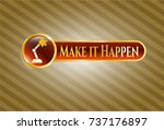 gold badge with desk lamp icon ... | Shutterstock .eps vector #737176897