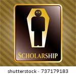 gold badge or emblem with dead ... | Shutterstock .eps vector #737179183