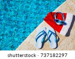 flip flops and swimming goggles ... | Shutterstock . vector #737182297