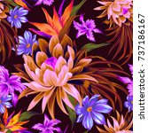 vector tropical pattern with... | Shutterstock .eps vector #737186167