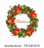 christmas wreath with red bow ... | Shutterstock .eps vector #737187673
