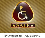 golden badge with disabled ... | Shutterstock .eps vector #737188447
