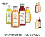 fresh juice realistic glass... | Shutterstock .eps vector #737189323