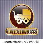 gold badge or emblem with baby ... | Shutterstock .eps vector #737190043