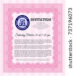 pink retro invitation. with... | Shutterstock .eps vector #737196073