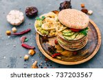 variety of sandwiches with... | Shutterstock . vector #737203567