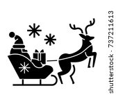 santa claus in a sleigh with a... | Shutterstock .eps vector #737211613