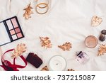 fall beauty makeup products... | Shutterstock . vector #737215087