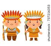cartoon couple native indian... | Shutterstock .eps vector #737216353