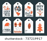 set of cute christmas and new... | Shutterstock .eps vector #737219917