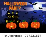 stock vector halloween night... | Shutterstock .eps vector #737221897