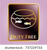 gold badge with fishbowl with... | Shutterstock .eps vector #737229733