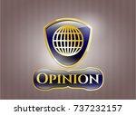 gold badge with globe  website ... | Shutterstock .eps vector #737232157
