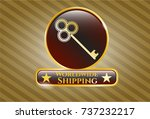 golden badge with key icon and ... | Shutterstock .eps vector #737232217