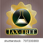 gold badge with test tube icon ... | Shutterstock .eps vector #737233303
