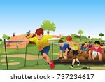 a vector illustration of kids... | Shutterstock .eps vector #737234617