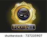 golden badge with fishbowl... | Shutterstock .eps vector #737235907