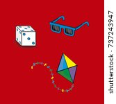 Cartoon Of Dice  Glasses And...